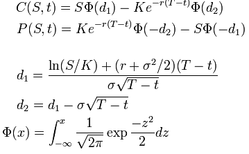 Black Scholes Formel